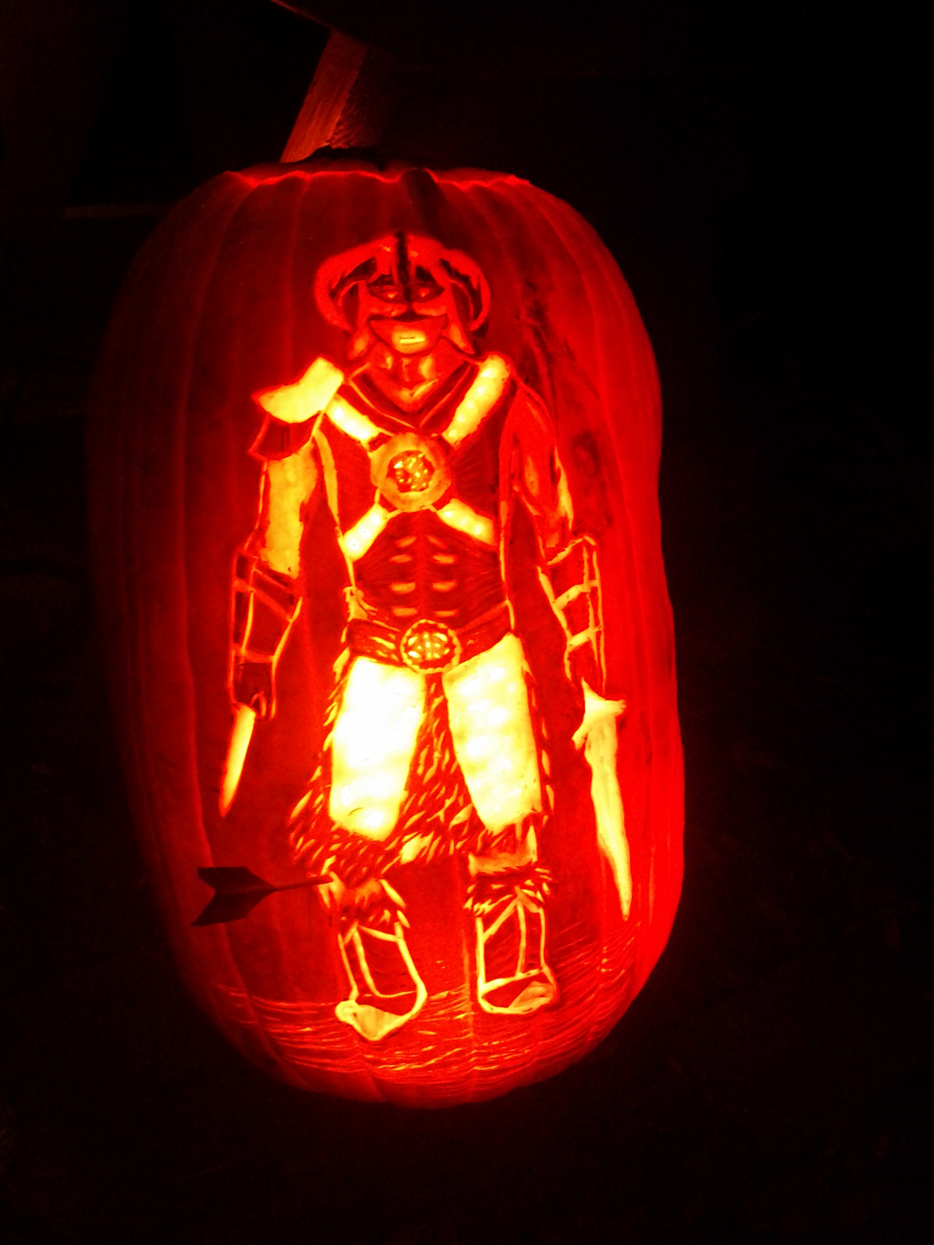 Skyrim pumpkin drawn in and quartered