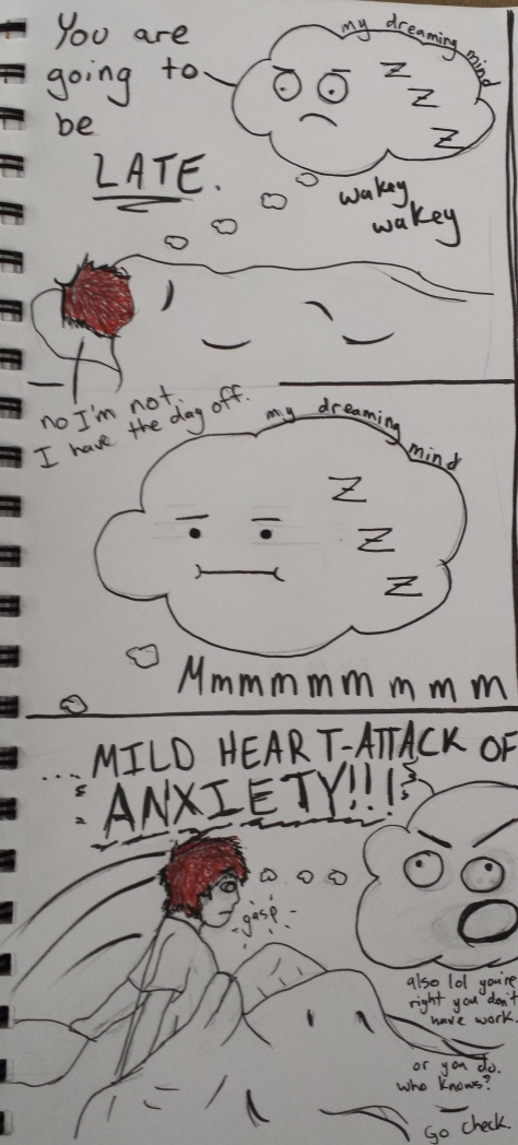 drawn by me, my brain is a paranoid SOB